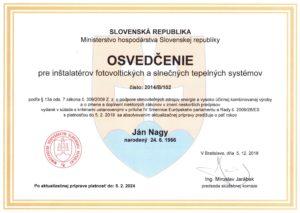 Ján Nagy osvedčenie pre inštalatérov fotovoltických a slnečných tepelných systémov vydané v Bratislave